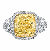 'Catherine' Fancy Intense Yellow Cushion Diamond Engagement Ring