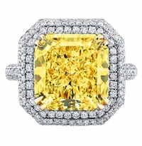 'Cecilia' Double Halo Engagement Ring with Fancy Yellow Diamond