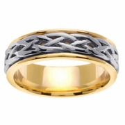 Celtic Platinum & 18kt Wedding Ring in 6.5 mm Comfort Fit