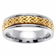 Celtic Platinum & 18kt Wedding Ring in 6 mm Comfort Fit