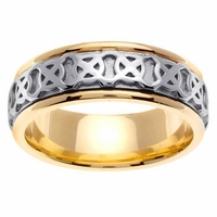 Celtic Platinum & 18kt Wedding Ring in 7.5 mm Comfort Fit