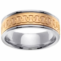 Celtic Platinum & 18kt Wedding Ring in 8mm Comfort Fit