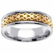Celtic Two Tone Knots Ring in 7 mm Comfort Fit
