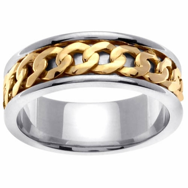 Chain Link Design Platinum & 18kt Wedding Ring in 7 mm Comfort Fit - click to enlarge