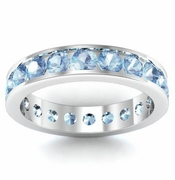 Channel Set Aquamarine Eternity Ring