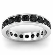 Channel Set Black Diamond Eternity Ring