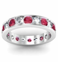 Channel Set Eternity Band with Diamonds and Rubies