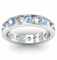 Channel Set Eternity Band with Round Diamonds and Aquamarines