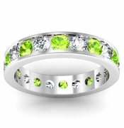 Channel Set Eternity Band with Round Diamonds and Peridots
