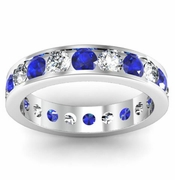 Channel Set Eternity Band with Round Diamonds and Sapphires