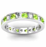 Channel Set Eternity Band with Round Peridots and Diamonds