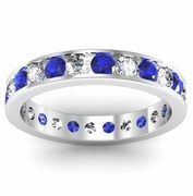Channel Set Eternity Band with Round Sapphires and Diamonds