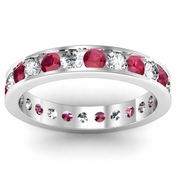 Channel Set Eternity Band with Rubies and Diamonds