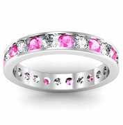 Channel Set Eternity Ring with Round Pink Sapphires and Diamonds