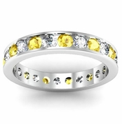 Channel Set Eternity Ring with Round Yellow Sapphires and Diamonds