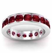 Channel Set Garnet Eternity Band
