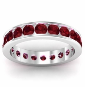 Channel Set Garnet Eternity Ring