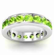 Channel Set Peridot Eternity Band