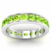 Channel Set Peridot Eternity Ring