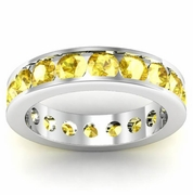 Channel Set Yellow Sapphire Eternity Band