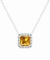 Citrine Diamond Halo Pendant in Princess Shape