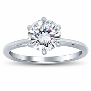 Classic Solitaire Engagement Ring Setting with 6 Prongs - click to enlarge