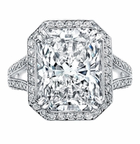 'Cornelia' Split Shank Halo Engagement Ring for Radiant Diamond