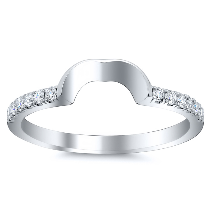curved matching diamond wedding band for heart shape - Heart Shaped Diamond Wedding Ring