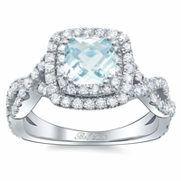 Cushion Aquamarine Double Halo Engagement Ring with Twisted Band