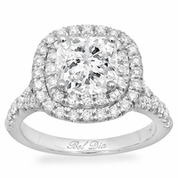 Cushion Baby Split Double Halo Engagement Ring