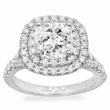 Cushion Baby Split Double Halo Engagement Ring - click to enlarge