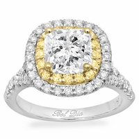 Cushion Baby Split Double Halo Engagement Ring with Yellow Diamonds