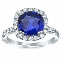 Cushion Blue Sapphire Pave Halo Engagement Ring