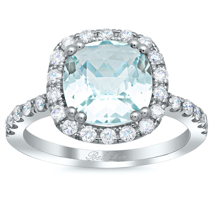 cushion cut aquamarine halo engagement ring - Aquamarine Wedding Rings