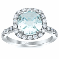 Cushion Cut Aquamarine Halo Engagement Ring