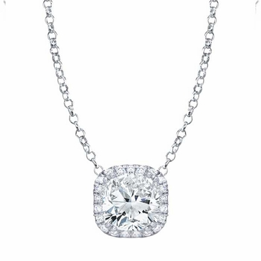 Cushion Cut Moissanite Pendant with Diamond Cushion Halo - click to enlarge