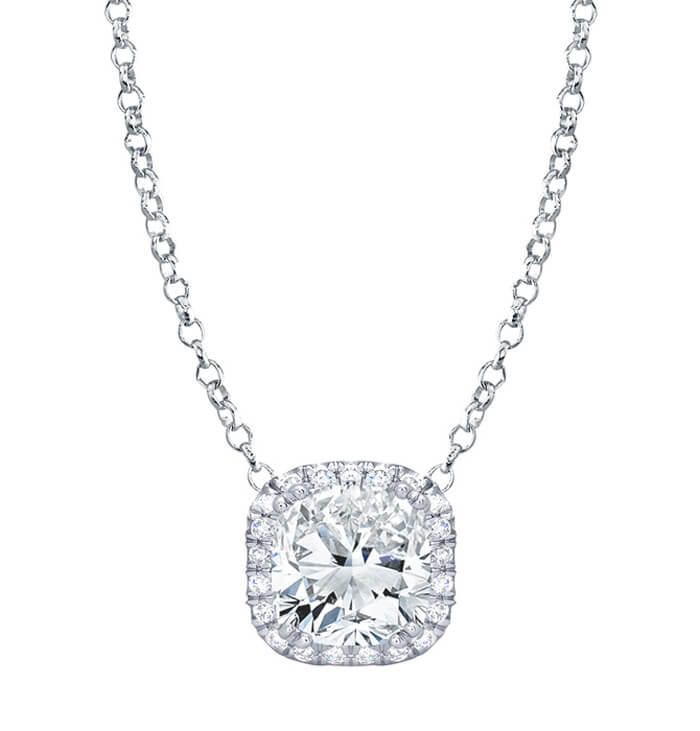 Cushion diamond halo pendant aloadofball Gallery