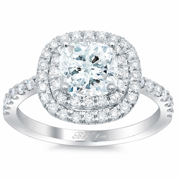 Cushion Double Halo Engagement Ring - click to enlarge