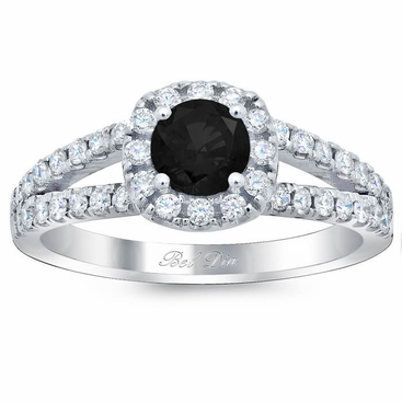 Cushion Halo Engagement Ring for Round Black Diamond - click to enlarge