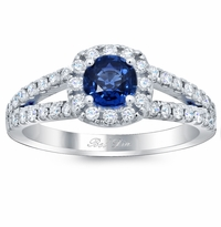 Cushion Halo Engagement Ring for Round Blue Sapphire
