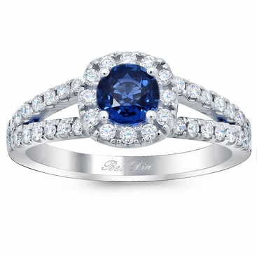 Cushion Halo Engagement Ring for Round Blue Sapphire - click to enlarge