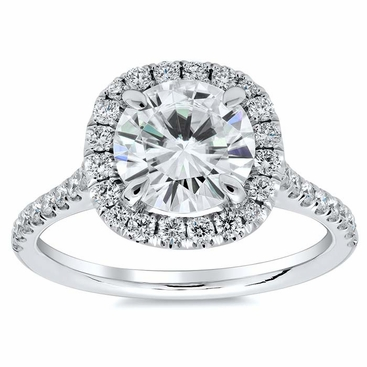 Cushion Halo Engagement Ring for Round Diamond or Moissanite - click to enlarge