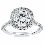 Cushion Halo Engagement Ring for Round Diamond or Moissanite