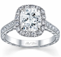 Cushion Halo Engagement Ring with Engraved Pave Band