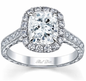 Cushion Halo Engagement Ring with Engraved Pave Band - click to enlarge