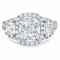 Cushion Halo Engagement Ring with Half Moons