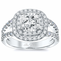 Cushion Low Split Double Halo Engagement Ring