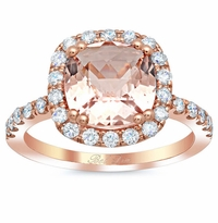 Cushion Morganite Halo Rose Gold Engagement Ring