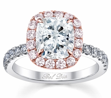 Cushion Pink Diamond Halo Engagement Ring for White Diamond - click to enlarge