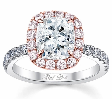Cushion Pink Diamond Halo Engagement Ring For White Diamond   Click To  Enlarge